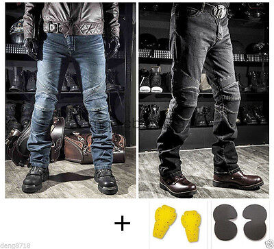 Mens Womens Motorcycle Harley Denim Jeans Distressed Pants Protection Pads