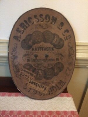 Swedish Antique  Hat Box Lid Stockholm