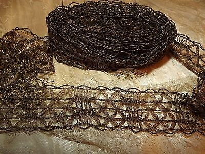 4.9 yds Antique Vintage Gold Metallic Edging Lace Passementerie Trim 177""