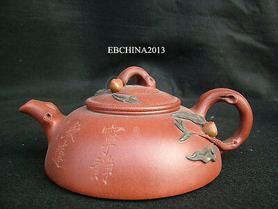 7.4''Old China Yixing Tea Pot Zisha Clay Carved Flower Statue Teapot Kettle