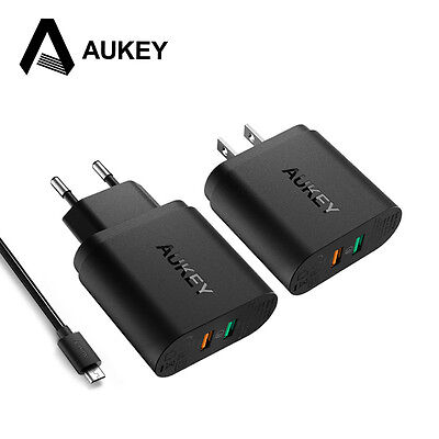 AUKEY 34.5W Quick Charge 3.0 Dual USB Travel Universal Fast Wall EU US Charger
