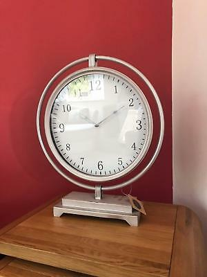X Large Vintage Style Shelf Mantel Clock - Antique Silver Modern Face Tall 51cm