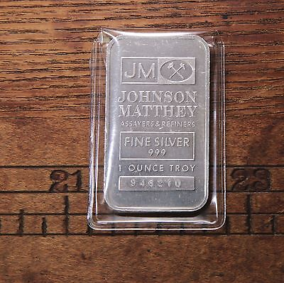 Vintage Johnson Matthey JM 1oz Serialized 999 Fine Silver 1oz Bar # 946210