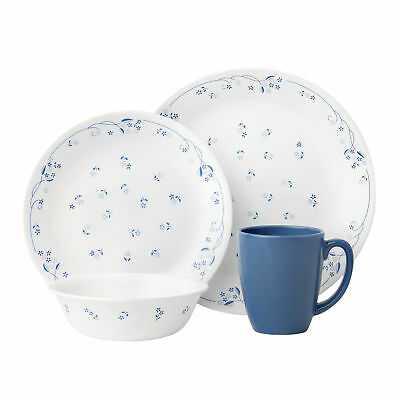NEW 16 Piece Provincial Blue Livingware Dinner Set Corelle Dinnerware Sets