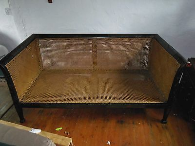 Bergere antique sofa wicker cane Black Lacquered Chinoiserie shabby wd love TLC