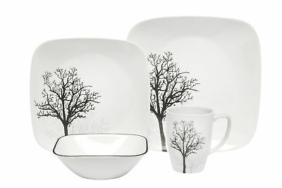 NEW 16 Piece Square Timber Shadows Dinner Set Corelle Dinnerware Sets