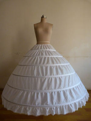 New White 6-HOOPS Wedding Ball Gown Crinoline Petticoat Skirt Slips Underskirt