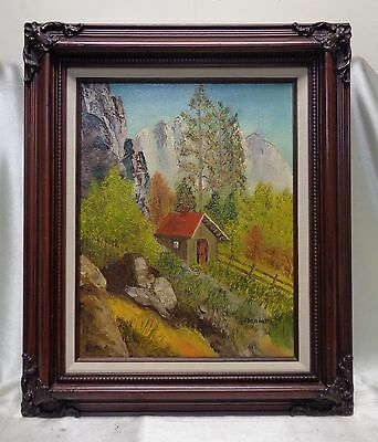Signed Vintage Cabin in the Wilderness Oil Painting in Vintage Wooden Frame