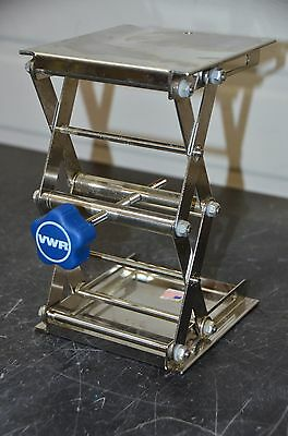 "VWR 6"" x 6"" Lab Jack Stainless Platform 9-3/4"" Max 3"" Min Height Scissor Lift"