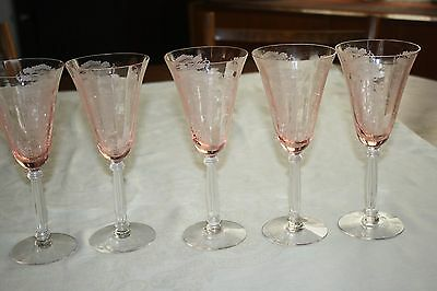 "Tiffin ""flanders"" Pink Etched Glass Clear Stem Set Of (5) Water Goblets 8 1/4"""