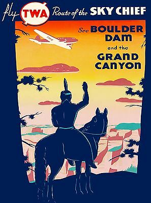 See Boulder Dam Grand Canyon Nevada Arizona TWA Vintage Airline Travel Poster