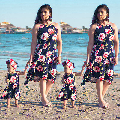 Family Dress Mother and Daughter Matching Floral Womens Girls Long Rose Dresses