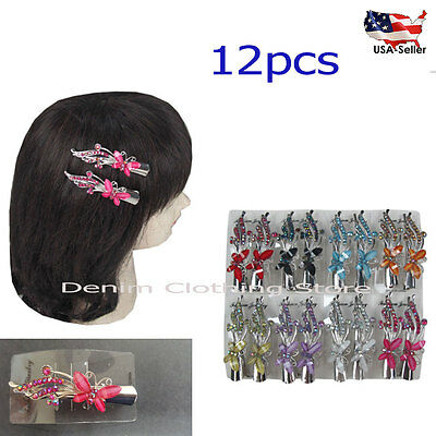 """12pcs Butterfly Hair Clip Clamp Metal Alligator Claw Crystal Rhinestone Lot 3"""""""