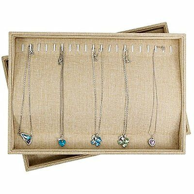 Sackcloth Stackable 20 Hook Jewelry Tray Necklace Display Showcase Organizer NEW