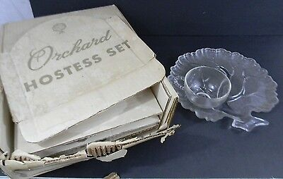 Vintage Hazel Atlas Clear Glass Orchard Hostess Snack Set for 4 Tree Plate & Cup