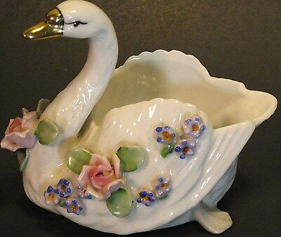 Gold Napco Creation Figurine Vintage Swan Roses Porcelain White flowers dish USA