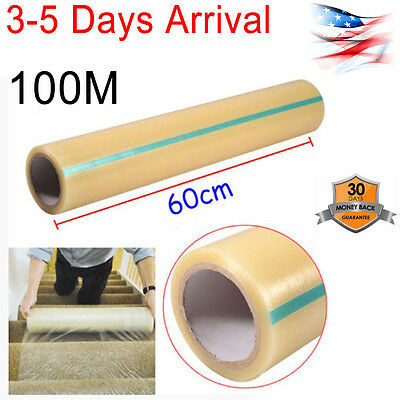 """Home Office Carpet Floor Protector Plastic Protection Film 24"""" X 328' Roll US"""