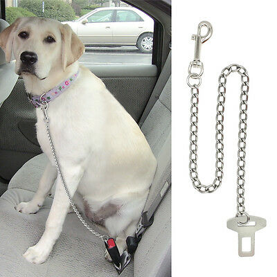 Vehicle Stainless Steel Chain Dog Leash Car Seat Belt Clip For Pets Dogs Sliver