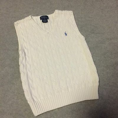 Polo By Ralph Lauren White Toddler Boys 6 Sweater Vest EUC