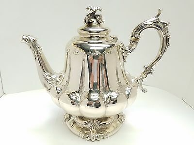 Signed Lure Coin Silver Fish Floral 900 Silver Tea Pot 1056 Grams Eagle Stamp