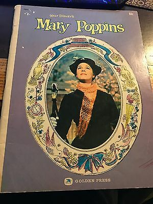 1964 Walt Disneys-Mary Poppins-Large Story Book Based On The Movie-Golden Press