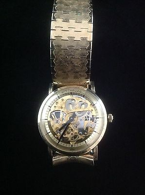 Rare Unusual Vintage 17 Jewel Men's Wittnauer Skeleton Watch 10k GF c1960's
