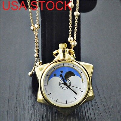 USA Ship Sailor Moon 20th Anniversary Crystal Star Pocket Watch Necklace Pendant