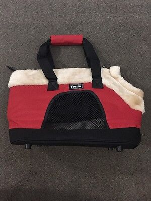 "Petsfit 17"" Inch Carrier Soft-sided Pet Carrier Red/ Beige FUR"