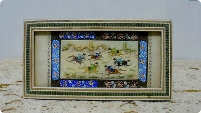 Antique Miniature Persian Painting on Camel Bone Horses & Hunters Hand painted