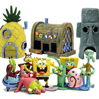 SpongeBob SquarePants Patrick Squidward House Fish Tank Figurines Decoration Fun