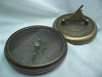 ANTIQUE STYLE BRASS 'TIME READER' COMPASS. New.