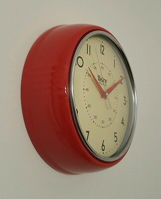 Retro vintage Quality Shabby wall clock With Chrome Detail 24CM