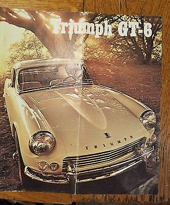 1966 TRIUMPH GT-6 FASTBACK DEALERS CAR SALES BROCHURE, 6 PGS, and specs sheet