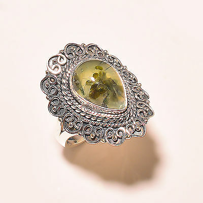 Prehnite Vintage Style 925 Sterling Silver Ring Size 8 Us