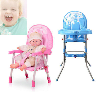 Baby High Chair Infant Toddler Feeding Booster Folding Highchair BLUE/PINK USA