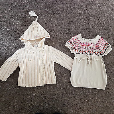 Baby Girl Cream Winter Ouch Jacket Cardigan & Origami Sweater Knit  Dress Size 0