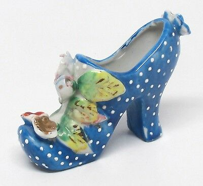 Vintage Blue & White Polka Dot Shoe Figurine - Made in Japan - As Is