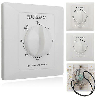 220V 10A 30/60/120 min Timer Countdown Time Switch Control Panel Water Pump Lamp