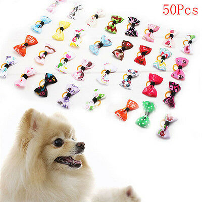 50pcs Pet Dog Puppy Cat Hair Grooming Bowknot Rubber Bands Clips Hairpins Bow