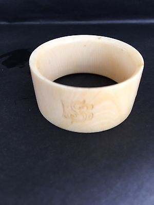 Chinese Carved Bovine Bone Napkin Ring With A Number