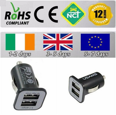 Black USAMS 3.1A Dual USB in Car Charger Socket Adapter Apple Samsung iPhone