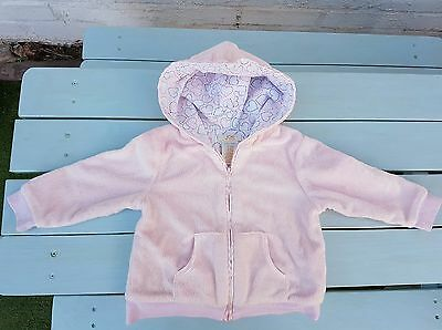 Joe Baby Girls Furry Pink Zipped Hoodie Jacket 12-18 months good condition