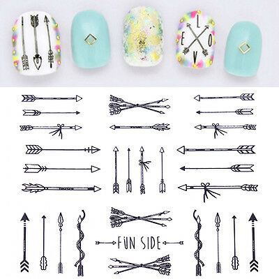Arrow Feather 3D Nail Stickers Tips Gold Silver Black White Nails Decal Manicure