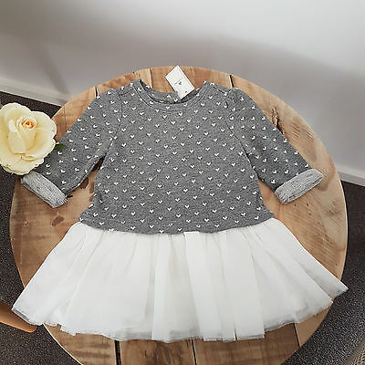 Baby Girl GAP Grey & White Sweater Party TuTu Tulle Dress Size 0 6-12M Birthday