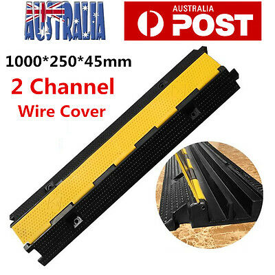 Cable Cover Guards Protector Ramp Tray - 2 Channel - Heavy Duty Rubber - 1M