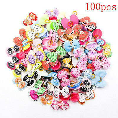 100pcs Pet Dog Hair Bow-Knot rubber bands Accessories Grooming Single Bowknot