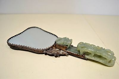 Oriental Chinese Enamelled Hand Mirror with Jade Handle Dragons