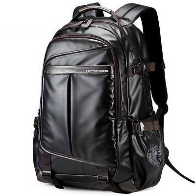 New Large Mens Black Waterproof Backpack Laptop School Bag Travel Bag