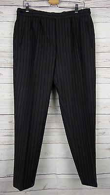 Vtg Pleated Tapered Button Fly Striped Wool Trousers W34 L27.5 DJ30