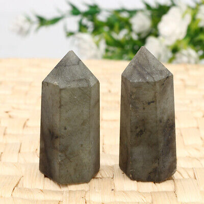 2pcs Natural Labradorite Fluorite Wand Quartz Crystal Point Healing Obelisk Reik
